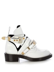 Balenciaga Ceinture Cut Out Leather Ankle Boots White
