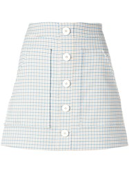 Veronica Beard Plaid Button Skirt Blue