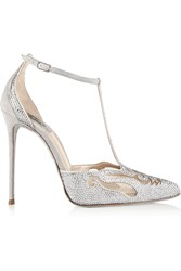 Rene Caovilla Embellished Suede And Mesh Pumps