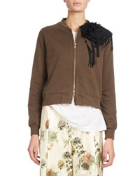 Dries Van Noten Hissom Embellished Zip Front Jacket Brown