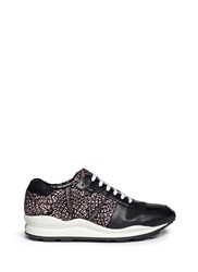 Opening Ceremony Graphic Print Leather Trim Wedge Sneakers Pink Black
