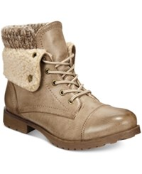 Ziginy Rock And Candy Spraypaint Cuffed Combat Booties Women's Shoes Cognac Sweater