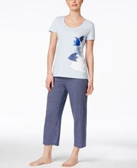Nautica T Shirt And Printed Capri Pants Pajama Set Polka Dot Navy