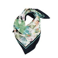 Texas And The Artichoke Iguazu Silk Scarf Navy Blue