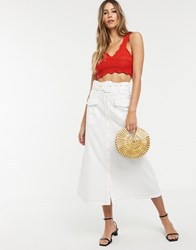Neon Rose Utility Maxi Skirt With Belted Waist White