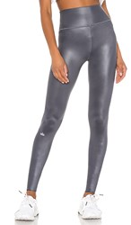 Alo Yoga High Waist Shine Legging In Charcoal. Anthracite Shine