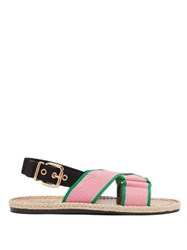 Marni Jute Sole Canvas Slingback Sandals Pink Multi
