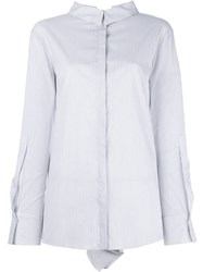 Dorothee Schumacher Pleated Sleeves Striped Shirt White