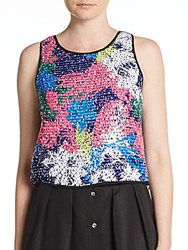 Milly Floral Paillette Silk Crop Top Multi
