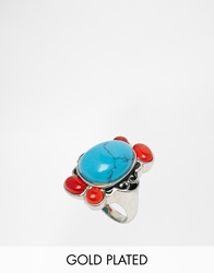 Taara Jewellery Taara 22K Gold Plated Ring In Silver Polish With Spotted Turquoise And Resin Goldturquoise
