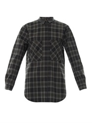 Anne Vest Leather Collar Check Print Shirt