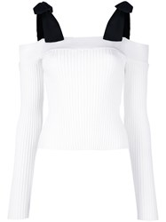 Msgm Tied Shoulders Ribbed Blouse Women Polyester Viscose M White