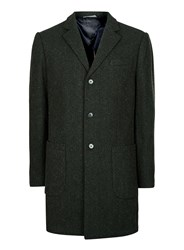 Selected Homme Green Herringbone Wool Rich Smart Coat