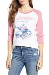Junk Food Budweiser Baseball Tee Tusk Faded Rose