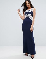 Jessica Wright Maxi Dress With Lace Inserts Navy Black