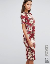 Asos Tall Oxblood Floral T Shirt Scuba Bodycon Dress Red