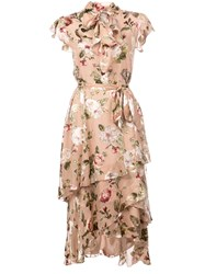 Alice Olivia Lavenia Asymmetric Tiered Dress Nude And Neutrals