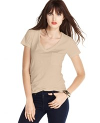 Maison Jules V Neck Pocket Tee Baby Blush
