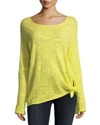 Minnie Rose Knotted Linen Blend Pullover Top Plus Size Margarita