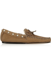 Isabel Marant Etty Studded Shearling Lined Leather Moccasins