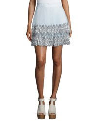 Christopher Kane Pleated Tulle Lace Skirt White Blue White Blue