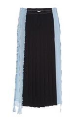 Versace Color Block Embroidered Midi Skirt Blue
