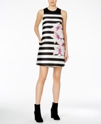 Rachel Roy Striped Floral Print Shift Dress Black White