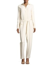 Helmut Lang Long Sleeve Collared Stretch Crepe Jumpsuit Porcelain