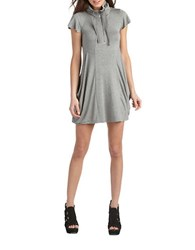 Kensie Quarter Zip Flutter Sleeved Dress Grey