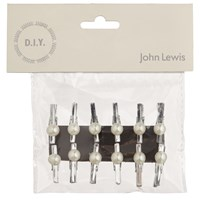 John Lewis Bridal Craft Small Pearl Pegs Pack O F 12 Silver