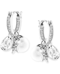 Swarovski Rhodium Plated Imitation Pearl And Crystal Cluster Drop Earrings