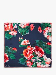 Joules Bloomfield Floral Square Silk Scarf Navy Multi