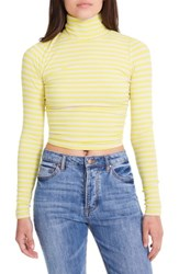 Afrm Hunter Shirred Back Crop Top Yellow Stripe