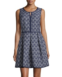 Max Studio Jacquard Fit And Flare Sleeveless Dress Dark Navy Ivy