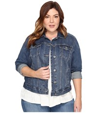 Lucky Brand Plus Size Classic Trucker Jacket Tanoak Women's Jacket Blue