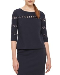 Akris Punto Dot Lace 3 4 Sleeve Top Navy