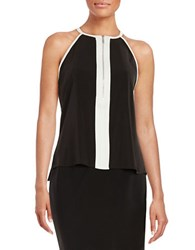 Andrew And Suzanne Front Zipper Tank Black Cream