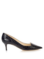 Jimmy Choo Allure 50Mm Crocodile Effect Leather Pumps Black Navy
