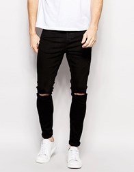 Selected Homme Super Skinny Fit Jeans With Stretch And Rips Black