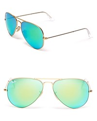 Ray Ban Aviator Sunglasses With Mirrored Lenses Matte Gold Green