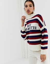 Neon Rose Relaxed Jumper With High Neck In Slogan Stripe Cream Multi