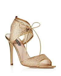 Sarah Jessica Parker Sjp By Ravish Metallic Mesh High Heel Sandals 100 Bloomingdale's Exclusive Gold