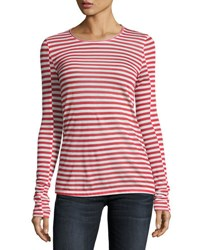 Rag And Bone Arrow Striped Long Sleeve T Shirt Red White