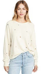 The Great Great. College Sweatshirt With Multi Poppy Embroidery Washed White