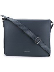 Cerruti 1881 Flap Cover Messenger Bag Men Calf Leather One Size Black