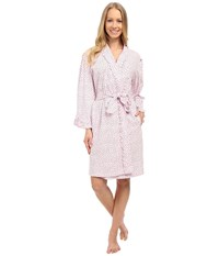 Eileen West Group Short Wrap Robe Pink Ground Tiny Hearts Women's Robe Gray