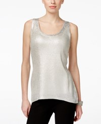 Inc International Concepts Metallic Foil Tank Top Only At Macy's Silver Foil