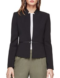 Bcbgmaxazria Faux Leather Accented Notched Blazer Black