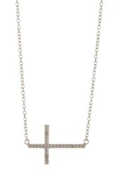 Diamond Accent Sideways Cross Pendant Necklace Metallic