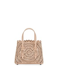 Alaia Micro New Vienne Laser Cut Leather Tote Bag Beige